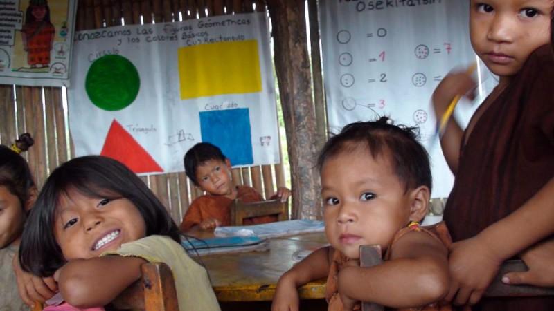 Alumnos nivel inicial. Comunidad asháninka de Pamaquiari. Foto en Flicker del usuario  Global Humanitaria (CC BY-NC-ND 2.0).