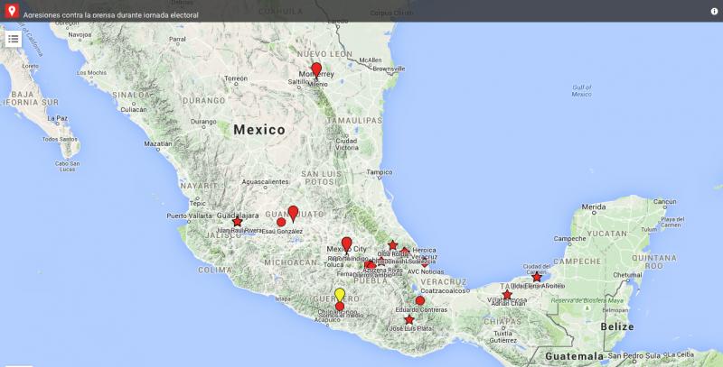 Карта случаев проявления агрессии во время освещения выборов в Мексике в 2015 году. Сеть #