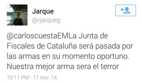 «Nuestra mejor arma será el terror» dice el brigada Jarque en uno de sus tuits