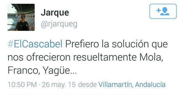 Tuit del guardia civil en el que apoya explícitamente a los golpistas que provocaron la Guerra Civil española. Captura de su desaparecida cuenta en Twitter