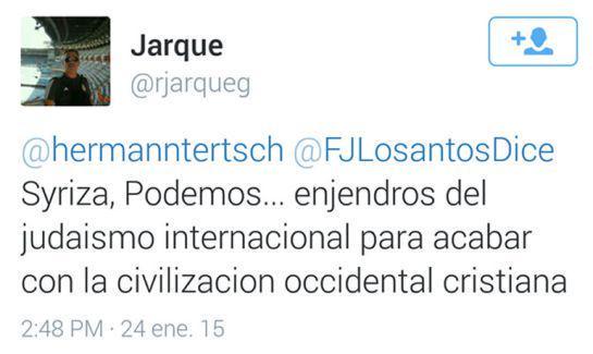 Jarque insulta al grupo político Podemos. Captura de su desaparecida cuenta en Twitter.