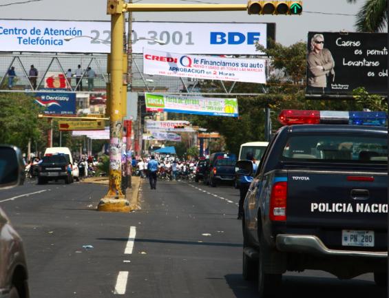 Imagen genérica de un ve˙eiculo policial nicaragüense a propósito de la muerte de tres personas a manos de la policía del país.