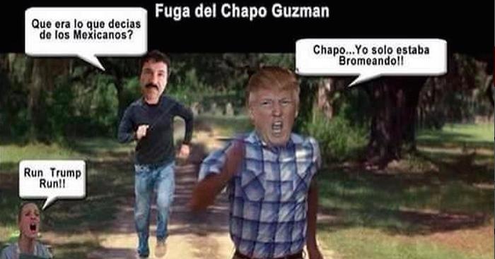 Uno de los memes creados por usuarios sobre la fuga del Chapo Guzmán y Donald Trump.