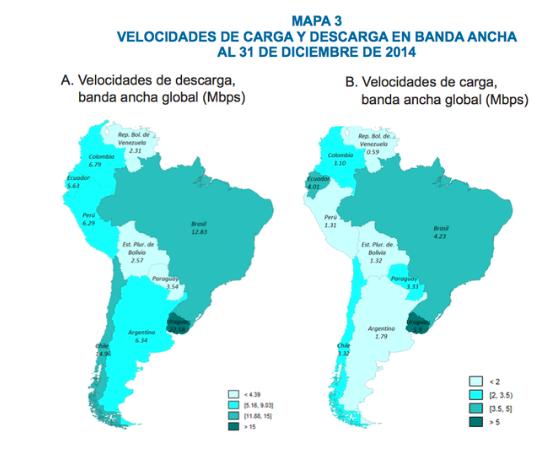 Mapa de velocidad de conexión a internet en América Latina