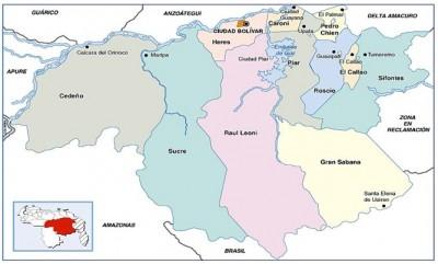 Mapa político del Estado Bolívar, donde se realiza el trabajo de investigación.
