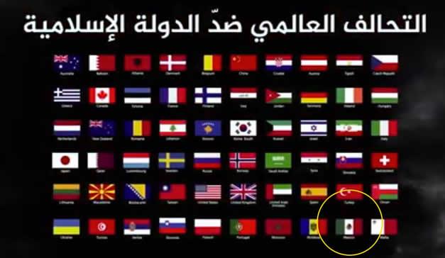 Captura de pantalla del video donde Daesh amenaza a 60 paises, entre ellos México
