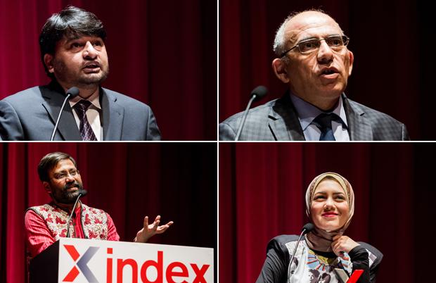Ganadores del premio en 2014: Shahzad Ahmad, Rahim Haciyev, Shu Choudhary, Mayam Mahmoud. Fotos por Alex Brenner para Index on Censorship.