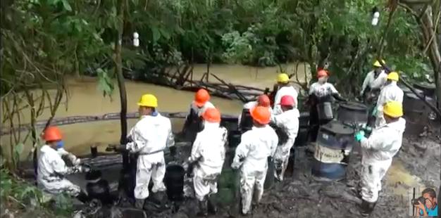 Captura de pantalla de video sobre el desastre ecológico en la Amazonía peruana. Crédito: Youtube/Onias flores cueva
