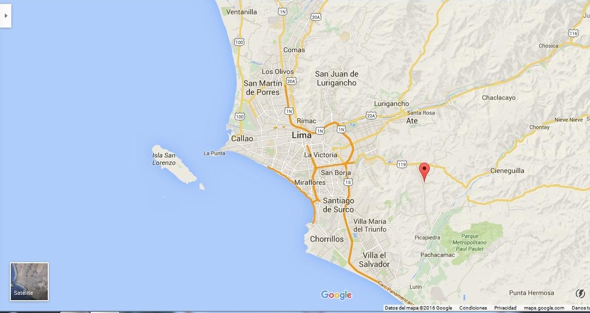 Ubicación de Manchay en el plano de Lima y alrededores.