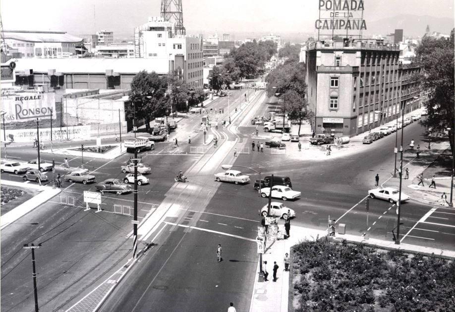 Cruce de Balderas, Arcos de Belén y Chapultepec. imagen de la página de Facebook La Ciudad de México en el Tiempo.