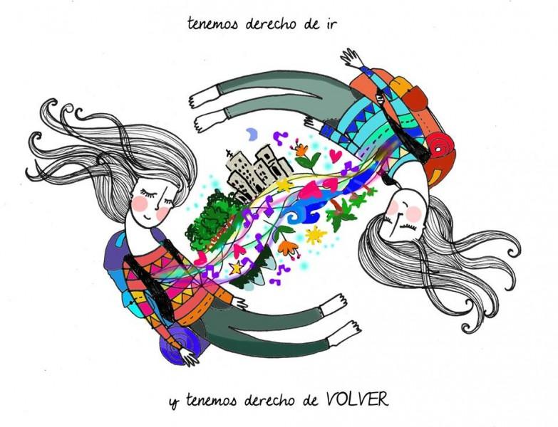 Tenemos derecho de ir tenemos derecho de volver. Ilustración de la página pública de Soledad Voulgaris en Facebook.