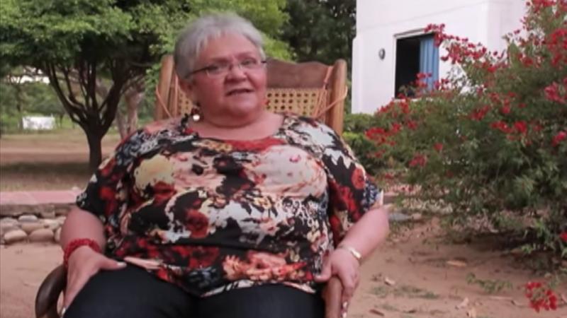 Imelda Daza en entrevista hecha a su regreso a Colombia. Captura de pantalla del video compartido por el usuario de Youtube Jonathan Fortich.
