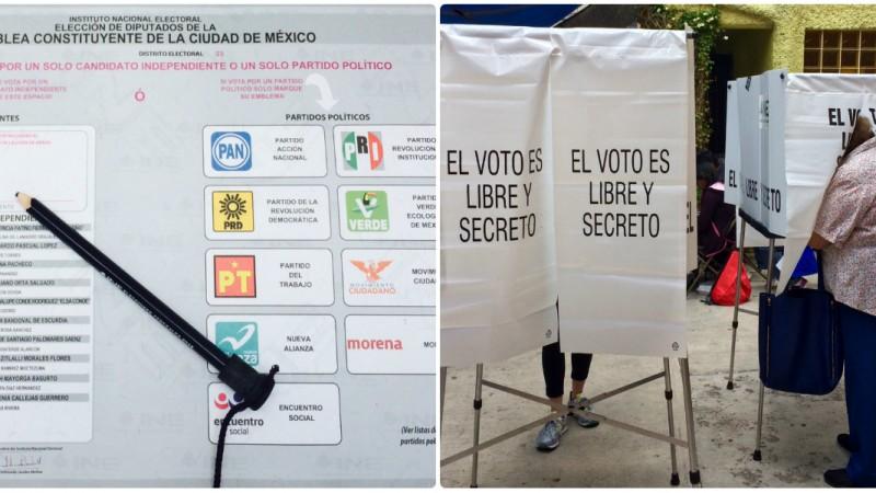 Boleta y casilla electoral en México. Elección de junio de 2016. Imagen del autor.