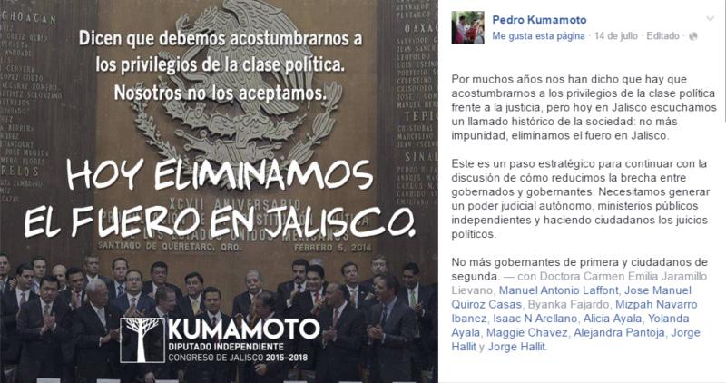 Pantallazo página de Facebook de Pedro Kumamoto.