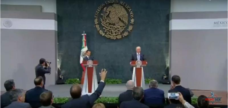 Captura de pantalla de la conferencia de prensa de Peña Nieto y Trump tras su reunión privada. Transmitida por YouTube.