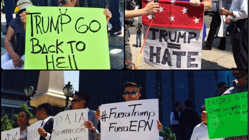 Protestas en México por la visita del candidato a la presidencia de Estados Unidos por el Partido Republicano. Imágenes del autor.