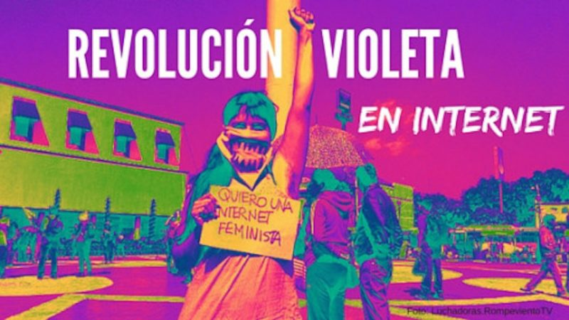 """Imagen de difusión de la campaña """"Revolución violeta en internet"""", publicada para la circulación por SocialTIC y usada con permiso."""