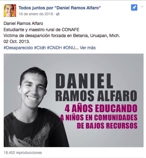 """Фото со страницы в Facebook """"Все вместе за Даниэля Рамоса Альфаро""""."""