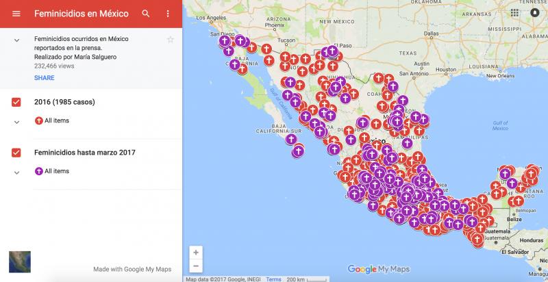Pantallazo del Mapa de Feminicidios en México.