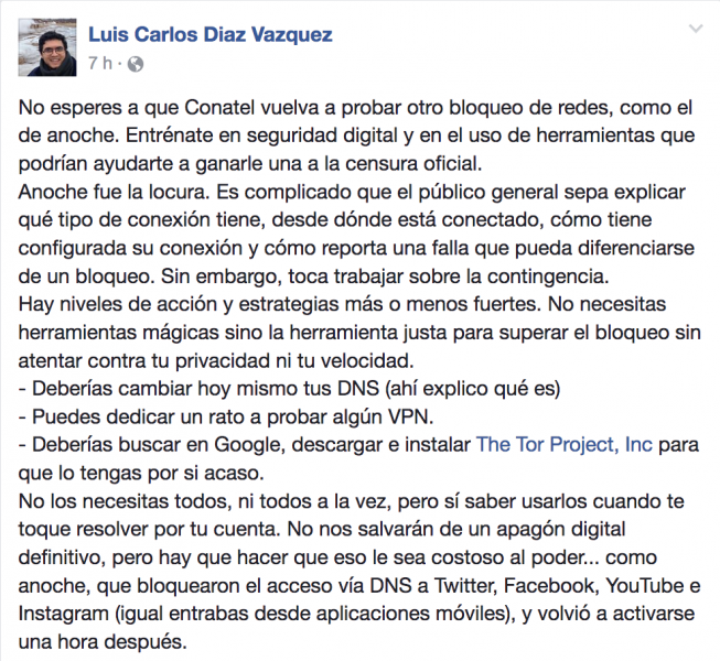 Ecran du profil public de Luis Carlos Díaz sur Facebook.