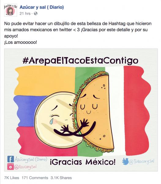 Pantallazo de la actualización pública de Facebook de Azúcar y Sal
