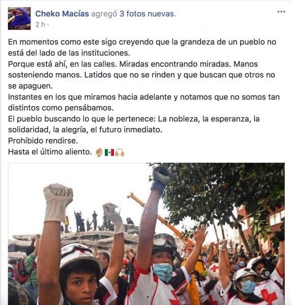Facebook de Cheko Macías. Compartida con autorización.
