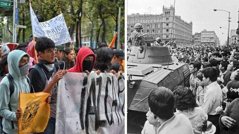 """على يسار الصور يظهر مظاهرة طلابية سنوية لعام 2018 تجوب مدينة المكسيك تحت مسمى """"مسيرة الصمت""""، أمل على يمين الصورة يظهر مسيرة طلابية في الميدان الرئيسي لمدينة المكسيك عام 1968. الصورة الأولى من موقع """"Cel·lí"""" (والنشر به عام) والصورة الثانية من """"ProtoplasmaKid"""" (والنشر بموجب رخصة المشاع الإبداعي Attribution-Share Alike 4.0 International)."""
