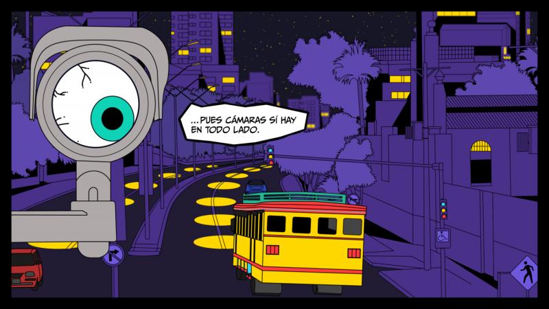 Una de las escneas del cómic Tour Delirio: Salsa y Vigilancia. Imagen utilizada bajo una licencia Creative Commons Atribución-NoComercial-CompartirIgual 4.0 Internacional (CC BY-NC-SA 4.0).