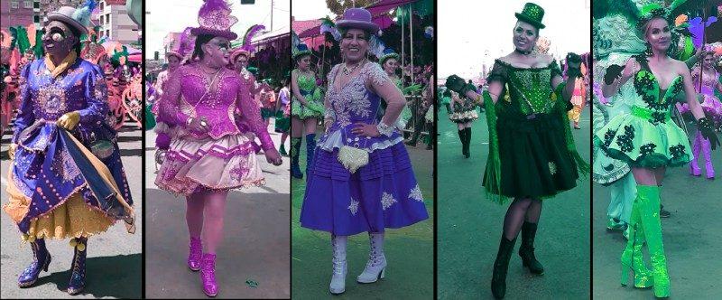 Plusieurs photos de femmes vêtues de costumes élaborés et incarnant les personnages de la China Morena et de le Figure