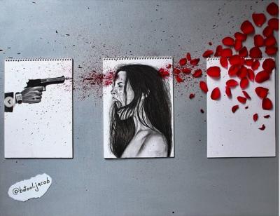 Un triptypique sur fond blanc : une main tient un revolver, une femme crie, des pétales rouges symbolisent l'éclat de sang.