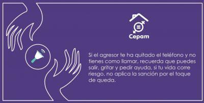 Affiche sur fond violet portant le logo du Cepam. Deux mains entourent une sonnette d'alarme.