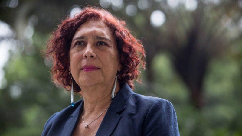 Portrait de la congressiste Tamara Adrian, le regard hors champ. Elle est vêtue formellement, en veste bleue, et porte des bijoux.