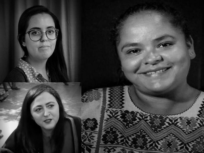 Montage photo des visages de Susana Prieto, Claudia Hernandez et Kenia Hernandez, en noir et blanc.