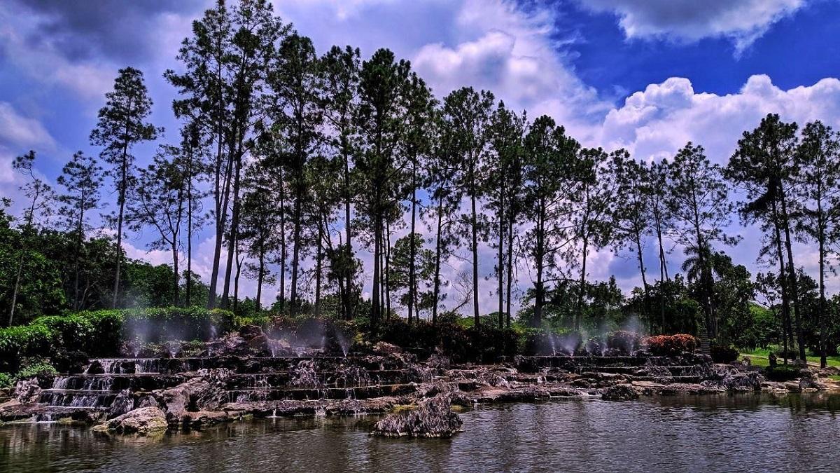 Photo couleur représentant un paysage. De l'eau coule en cascade depuis des rochers en forme d'escalier et se déverse dans un plan d'eau. Un parc se distingue à l'arrière et des arbres entourent les rochers. Le ciel est nuageux.