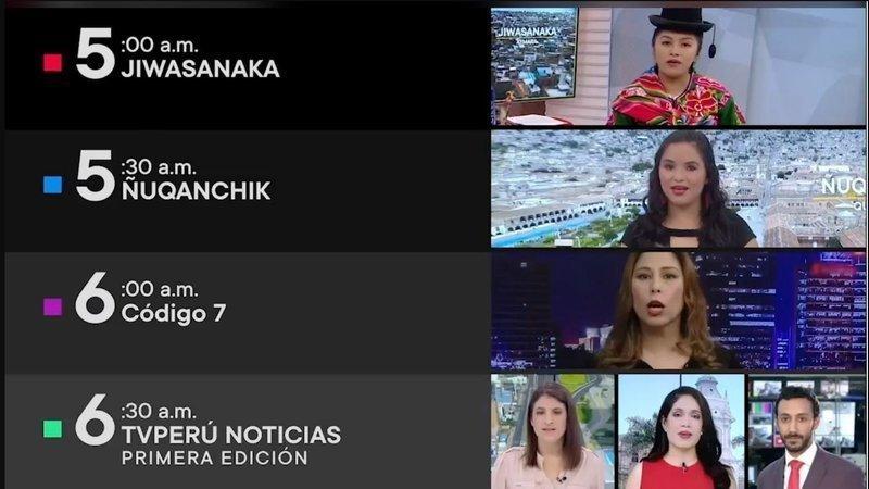 Sur TVPerú, les émissions en langues autochtones sont programmées de 5h à 6h du matin.
