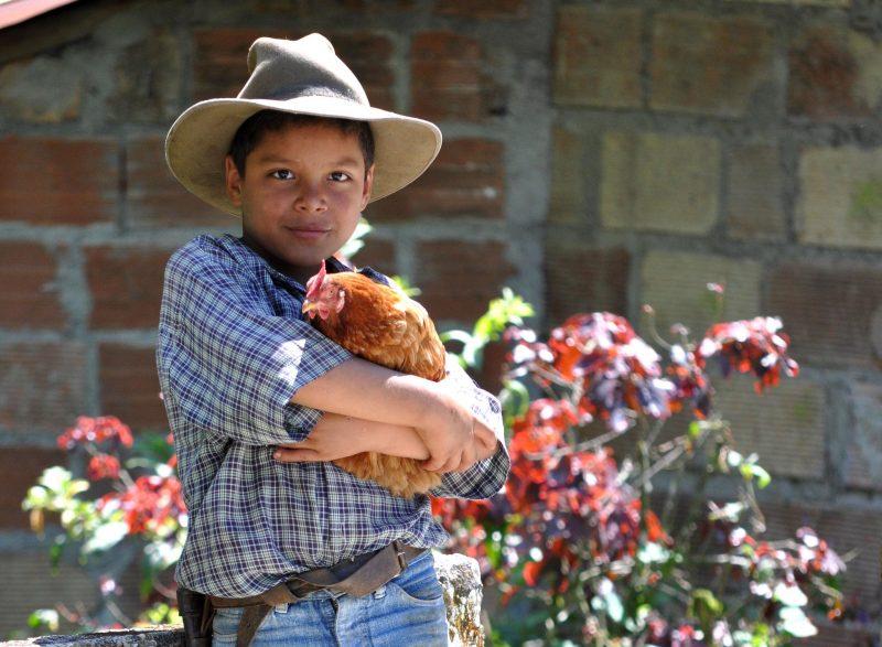 Un jeune paysan mexicain tient une poule dans ses bras.