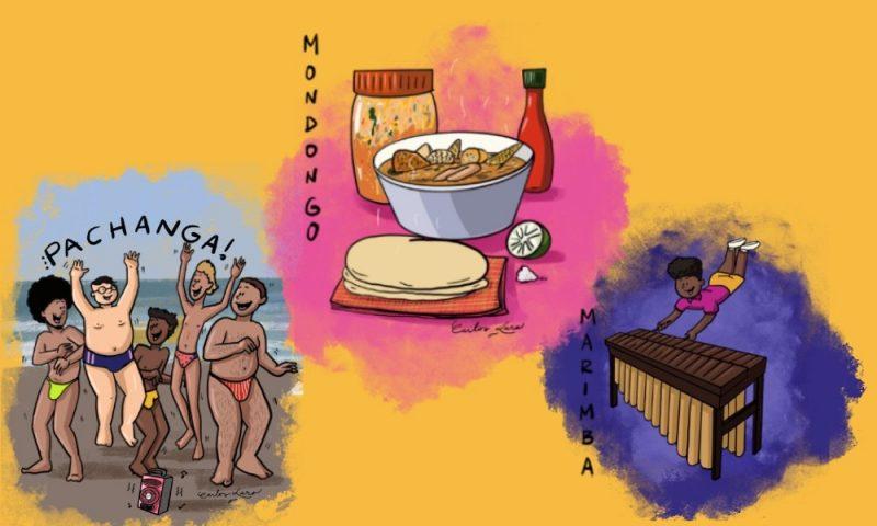 Ілюстрація на жовтому фоні являє собою візуальне зображення слов Pachanga, Mondongo та Marimba.