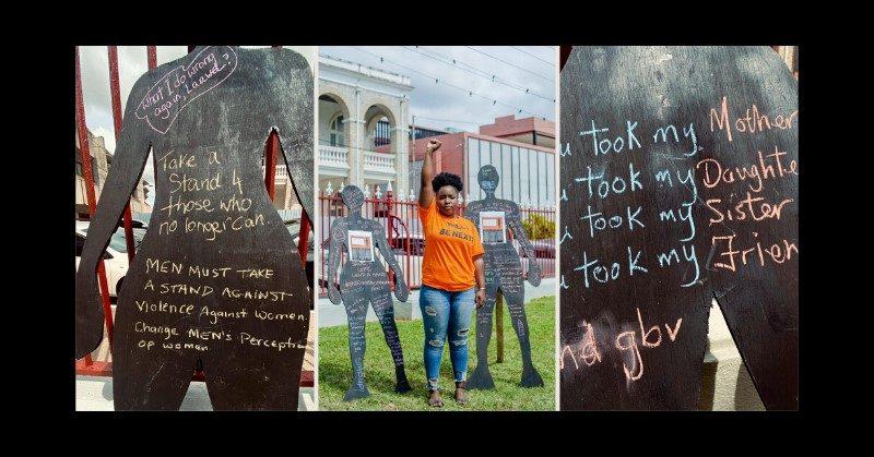 """Muntado de bildoj pri """"Día Naranja"""" (Oranĝa Tago) por protesti kontraŭ perforto kontraŭ virinoj en Puerto Príncipe, la 25-an de januaro 2020. Fotoj faritaj de Womantra, uzataj kun permeso."""