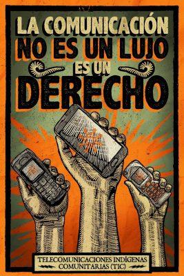 """3 mains tiennent un téléphone à la main. Le slogan de l'affiche dit """"la communication n'est pas un luxe, c'est un droit"""""""