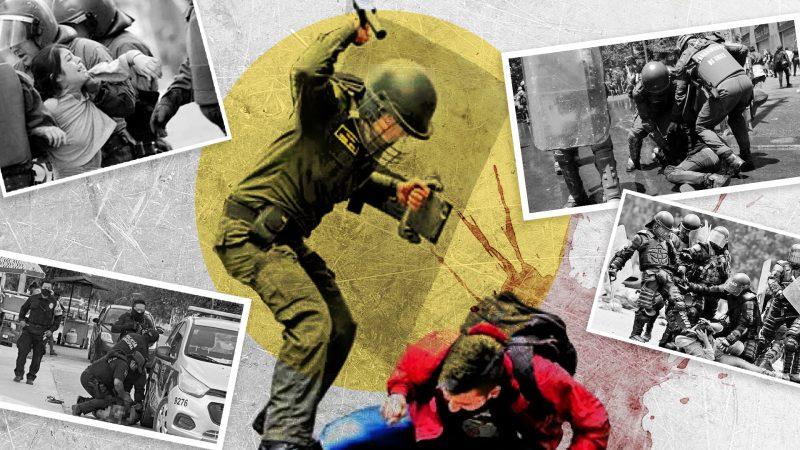 Photomontage montrant des policiers utilisant de manière excessif la force sur des civils.